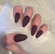 matte burgundy almond false nails