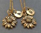 Best friend necklace, sunflower necklace, flower necklace, bff necklace, sister, friendship jewelry, personalized, initial, monogram