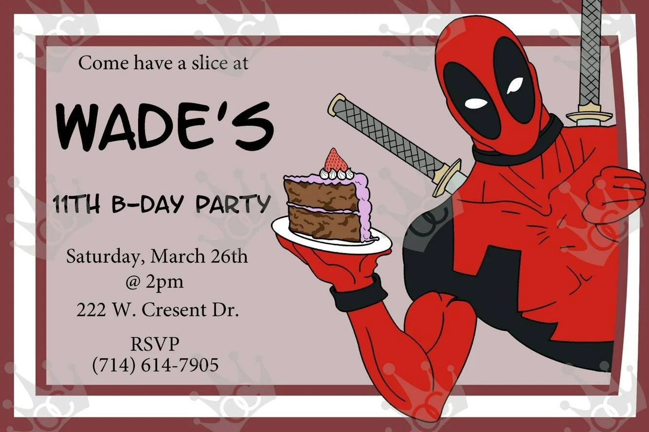 Items Similar To Customized Deadpool Birthday Card