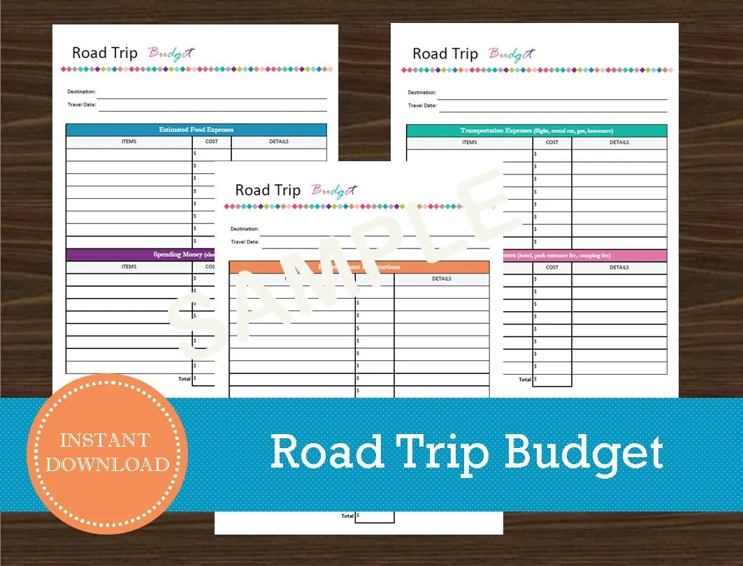 Road Trip Budget And Expense Tracker Printable And Editable