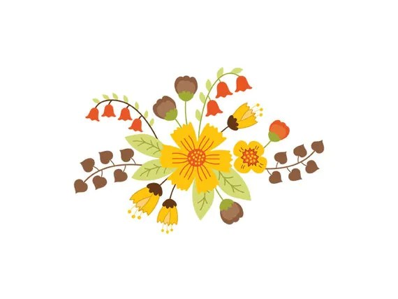 autumn floral bouquet clipart digital