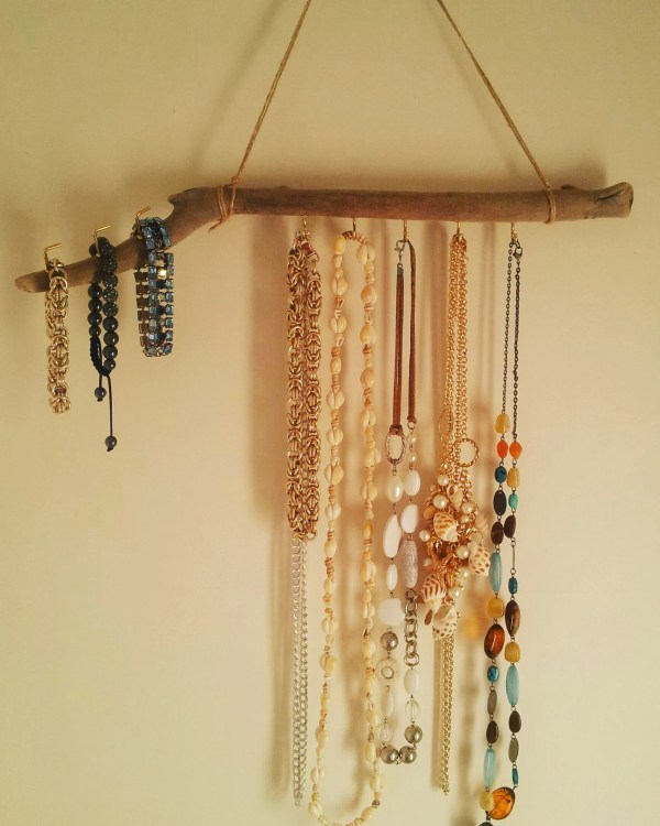 Driftwood Jewelry Display Wall Mounted Organizer