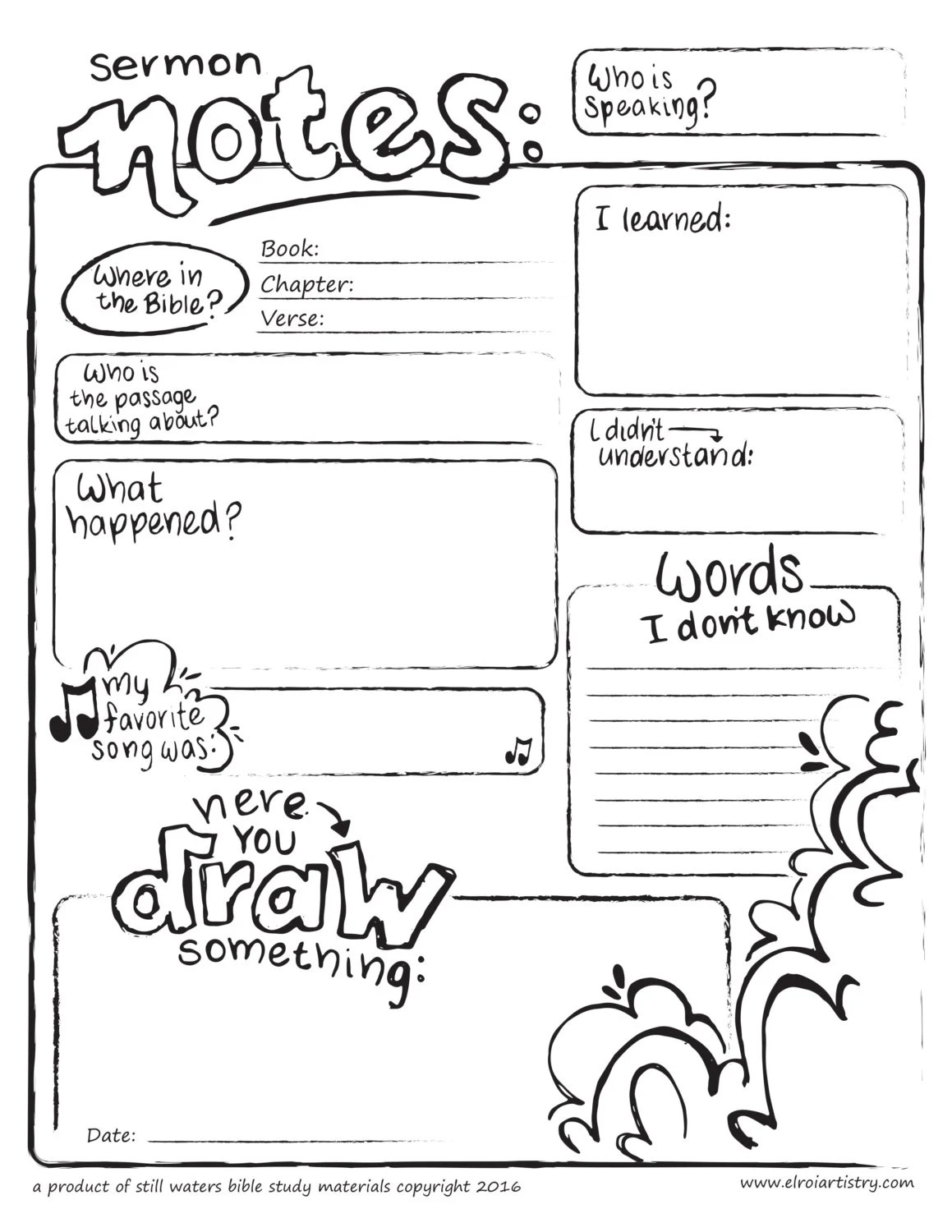 Bulliten Insert Kids Sermon Notes Printable Church Edition