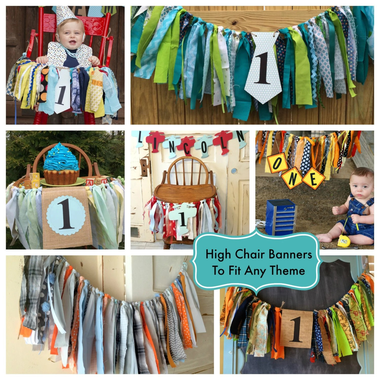 high chair decorations 1st birthday boy overstuffed chairs and ottomans boys banner custom made first