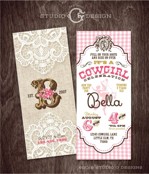 Vintage Cowgirl Invitation Burlap Lace Birthday Party