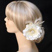Wedding Hair Clip Ivory Color Satin Flower Hair Clip Wedding