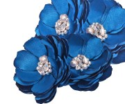 royal blue flower hair clips