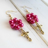 Cross Jewelry Earrings Cross Earrings Jewelry Pink and Gold