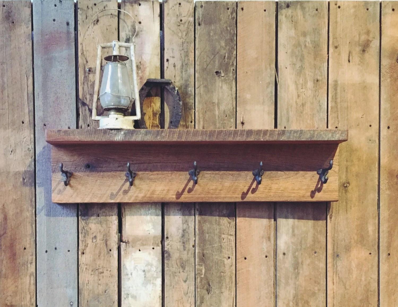 Reclaimed Wood Coat Rack with Shelf / Barn Wood Coat Hanger