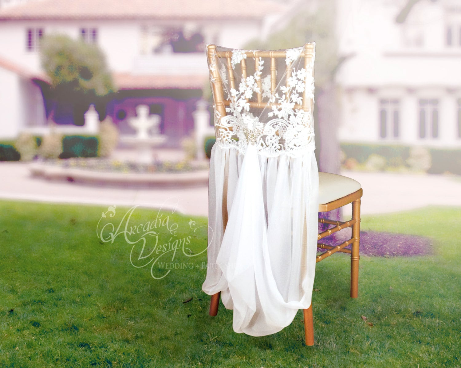 elegant chair covers and wedding decor log rocking lace cover with chiffon drape optional butterfly