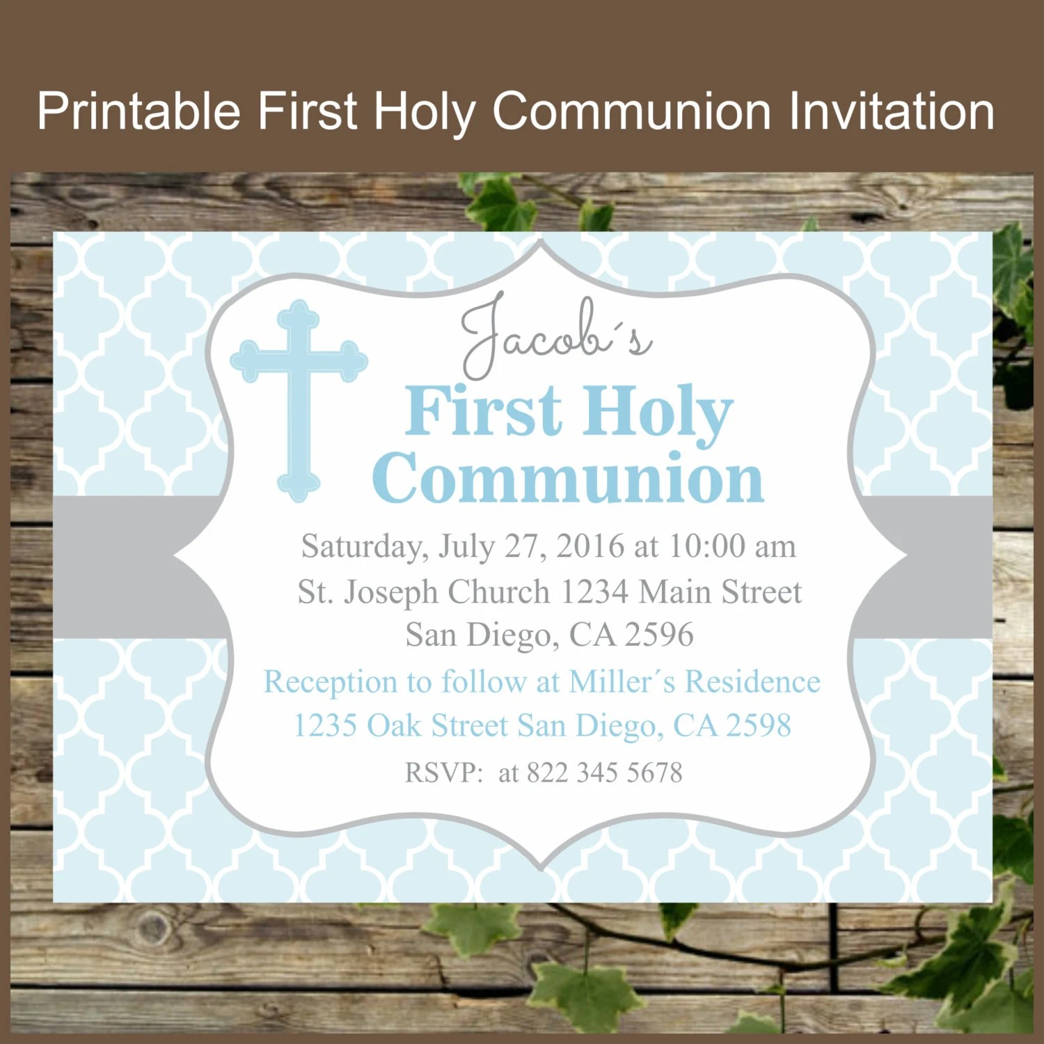 First Holy Communion Invitation Printable Personalized