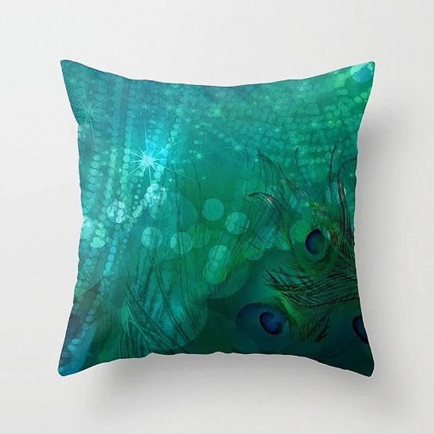 Peacock Pillow Decorative Throw Pillows Abstract