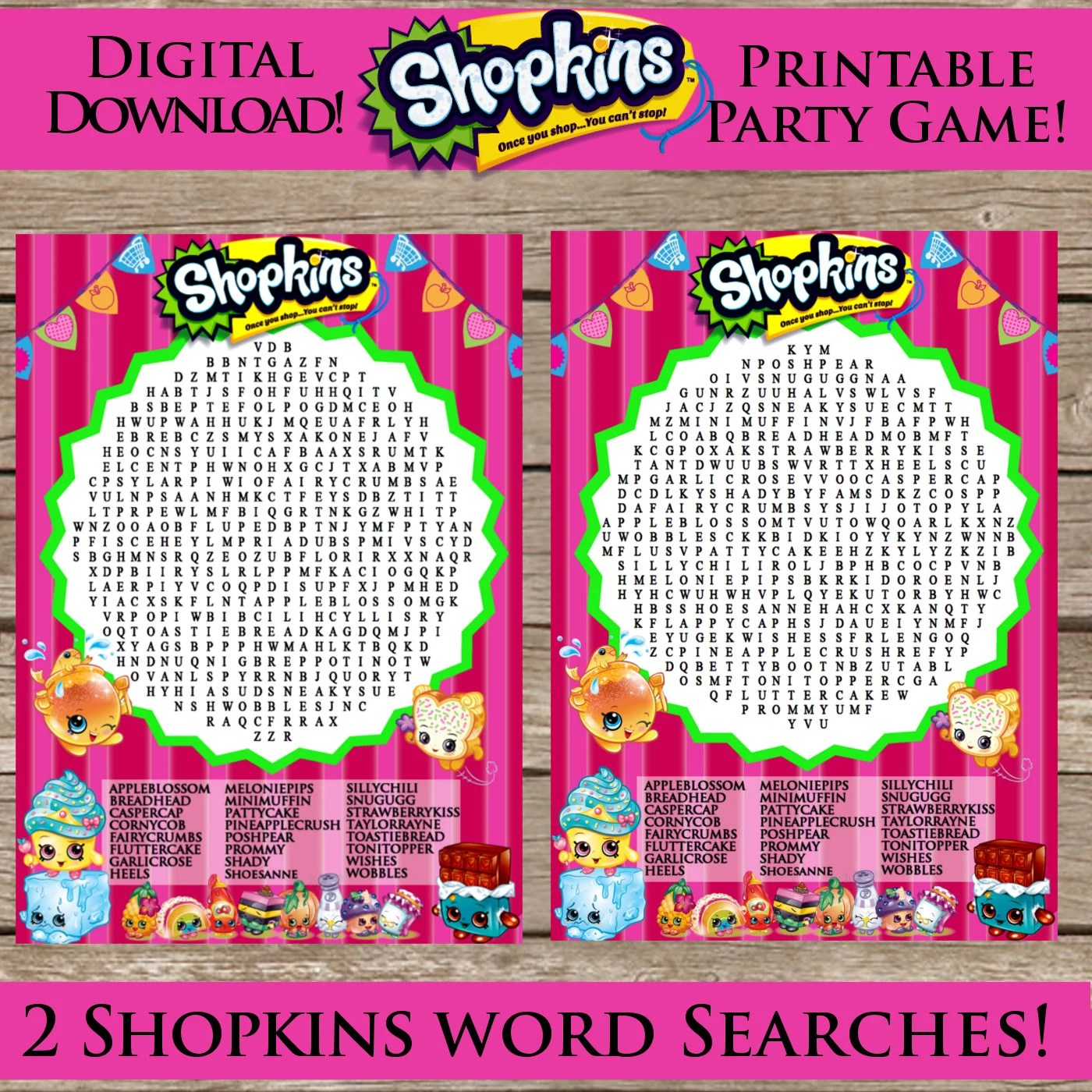 Shopkins Printable Word Search Digital Download By Clipart911