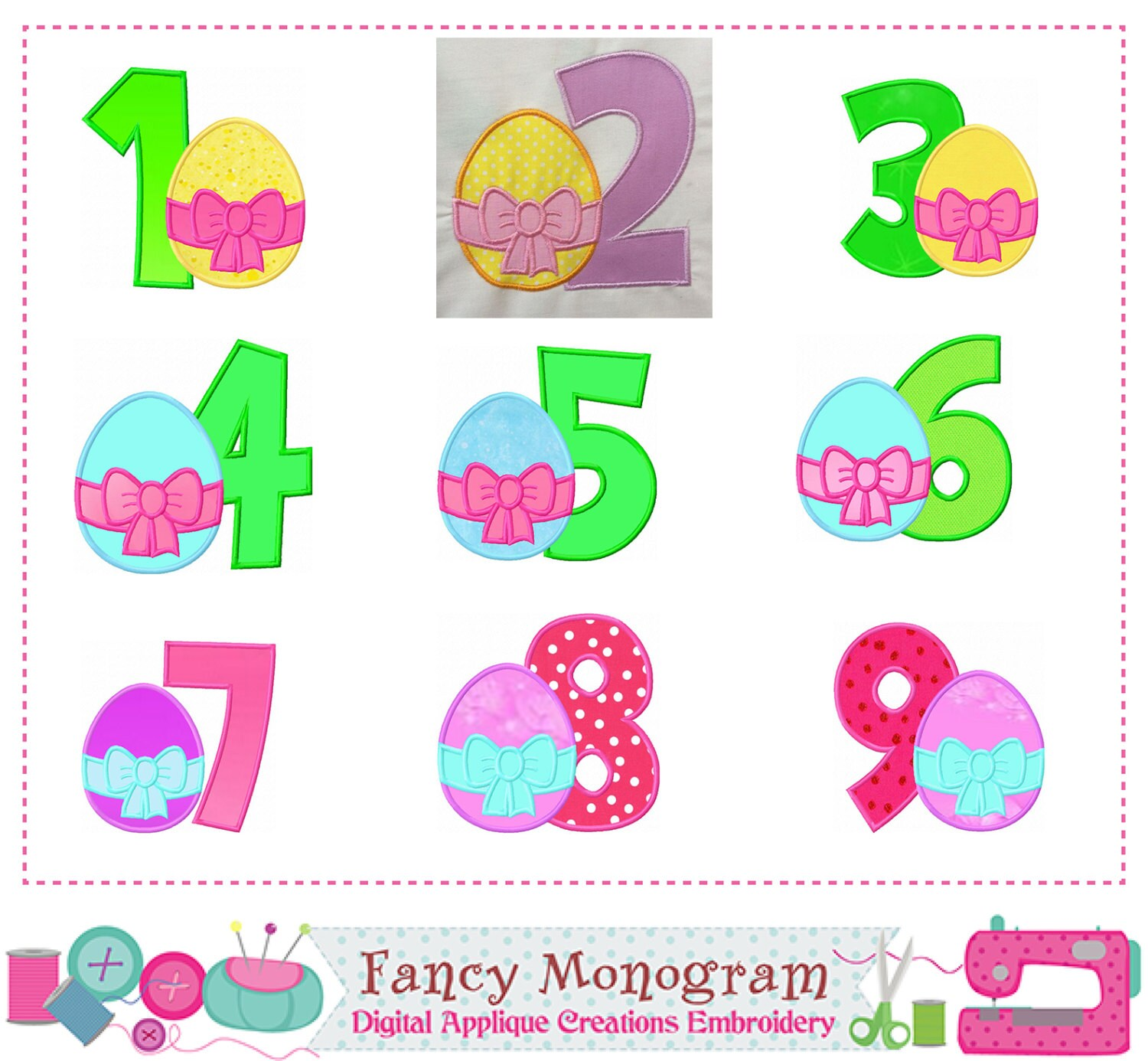 Easter Numbers Appliqueeaster Egg Numbers Appliquebirthday