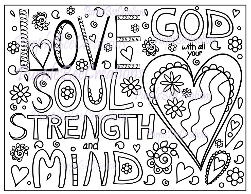 Coloring Page Bible Verse Coloring Page Love God with all your