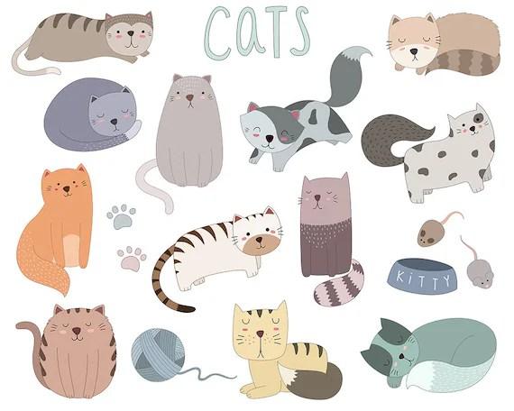 cute cat clip art set of 19 vector
