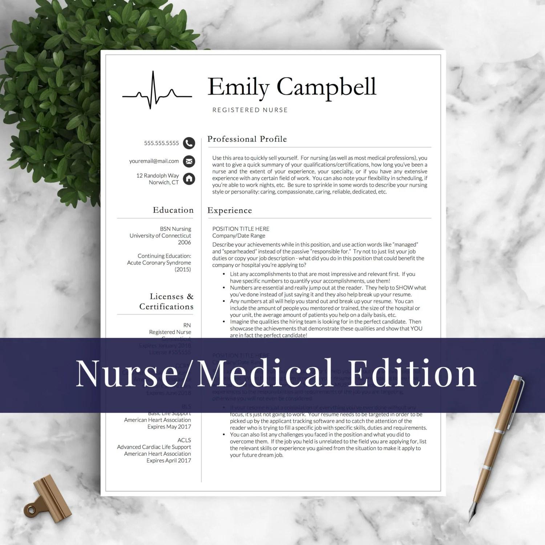 Nurse Resume Template For Word Amp Pages Medical Resume Nurse