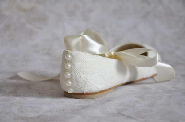 Lace Wedding Flats Ballet With Ribbon Ivory Bridal