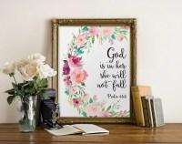 Bible Verse Wall Art God Is In Her She Will Not Fall Nursery