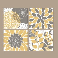 Floral Wall Art YELLOW Bedroom Pictures CANVAS or Prints