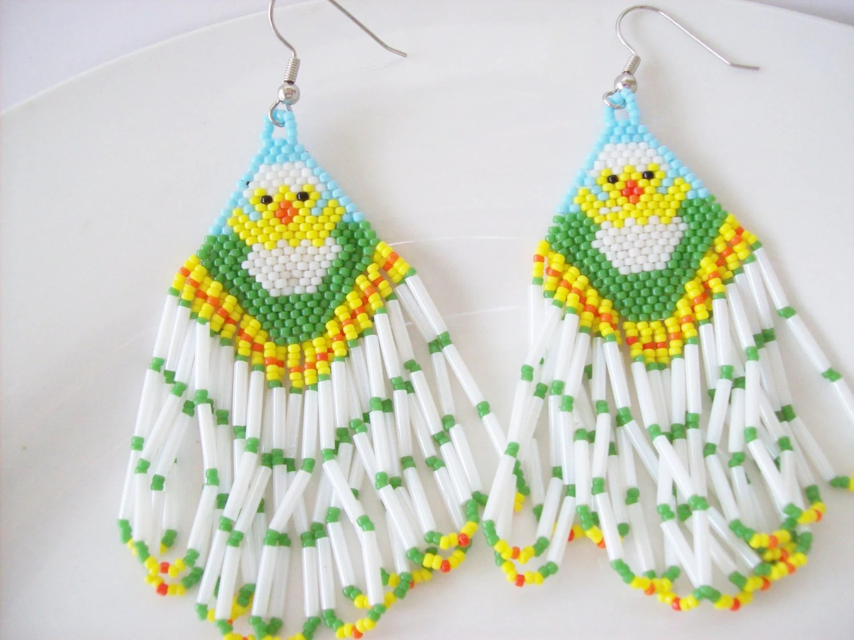 Holiday Easter earrings Beaded chick earrings Dangle