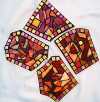 CUSTOM DRINK COASTERS Funky Shaped or Square Mosaic Coasters