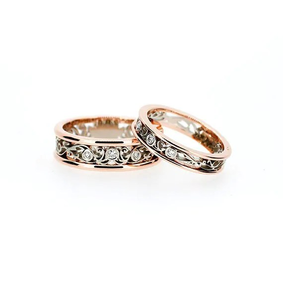 Two tone filigree wedding band set diamond wedding rings