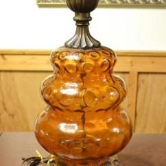 Swivel Chair In Spanish Kneeling Desk Vintage Amber Glass And Metal Table Lamp Retro Lighting