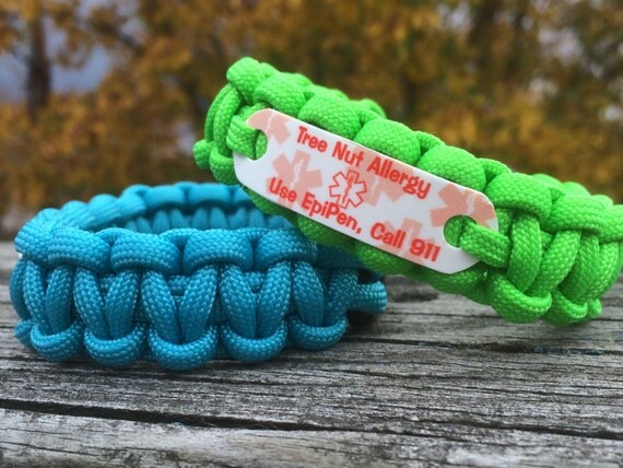 Tree Nut Allergy Bracelet - Use EpiPen Call 911 - Medical ID Paracord ...