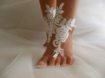 White Sequined Lace Barefoot Sandals Beach Wedding