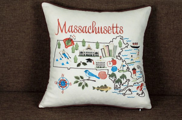Massachusetts State Embroidered Pillow Cover Cases