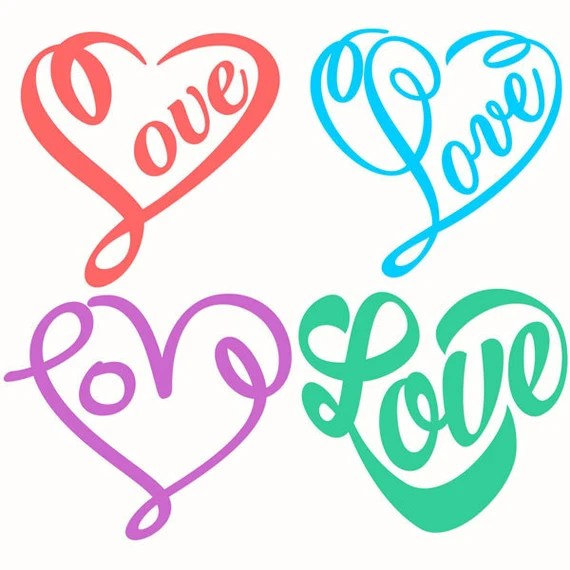 Download Love Hearts Cuttable Designs SVG DXF EPS use with Silhouette