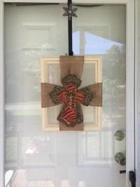 Front door decor Cross Decor Burlap Cross Frame Wreath