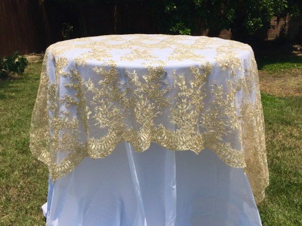 Gold Embroidered Lace Table Runner Tablecloth