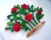 Red roses bush quilling paper art Quilling shadow box Wall