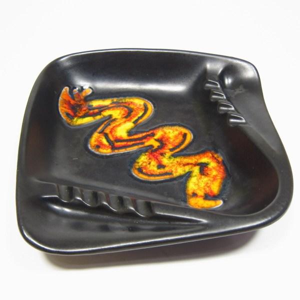 Mid Century Ashtray Black Royal Haeger Vintage Retro Orange