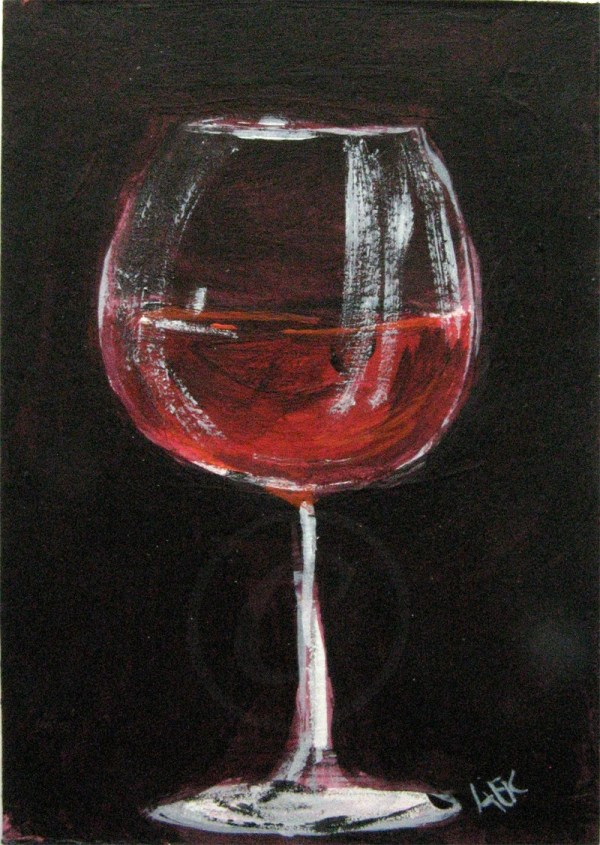 Red Wine Glass Painting Art Original Aceo Acrylic
