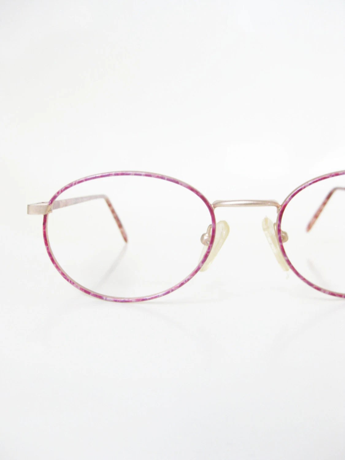 Vintage 1980s Pink Wire Rim Eyeglasses Glasses Reading Mauve