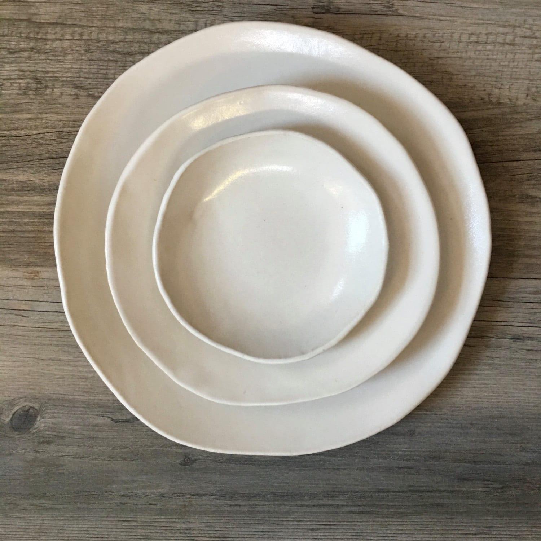 Ceramic Dinnerware Set Handmade ceramics White Dinnerware