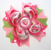 strawberry girl hair bow handmade