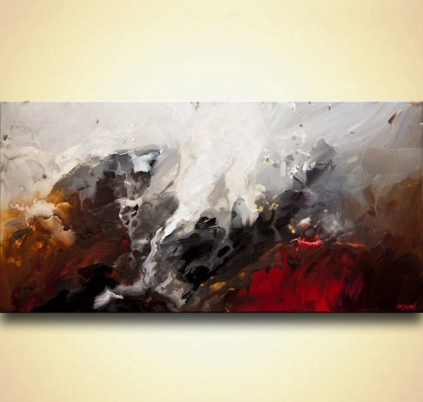 Abstract Painting Original Black White Red Acrylic Art