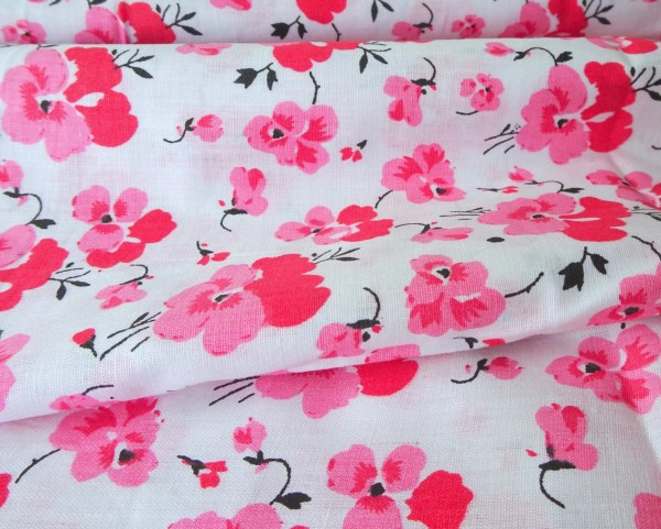 Pink Flower Cotton Fabric Cherry Blossom Indian