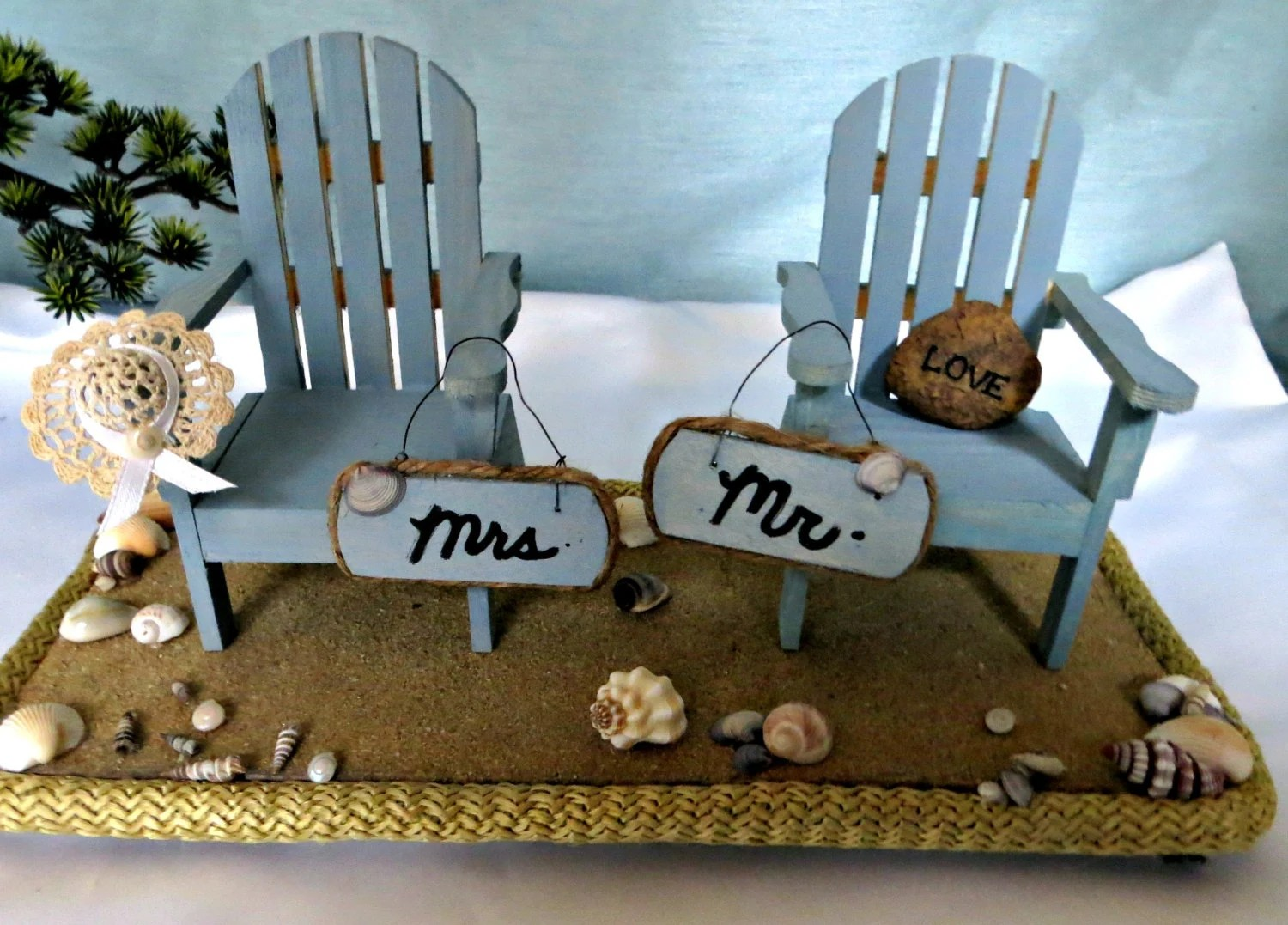 adirondack chair photo frame favors outside lounge chairs mr and mrs beach table top decor