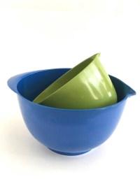 Vintage Melamine Mixing Bowls Mod Blue Green Handle Pour Spout