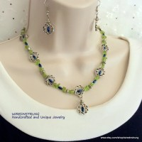 Peridot Chip necklace and Earring set Gift for her Gemstone