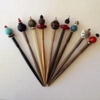 JabberDuck - Shawl pins - Decorative hair sticks - wooden ...