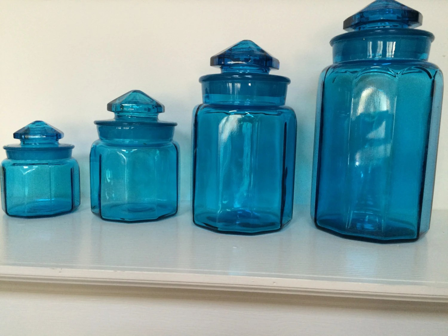 Ordinaire Turquoise Blue Glass Kitchen Canisters Apothecary Jars 10