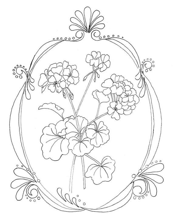 Geraniums Coloring Page Flower Coloring Page Instant