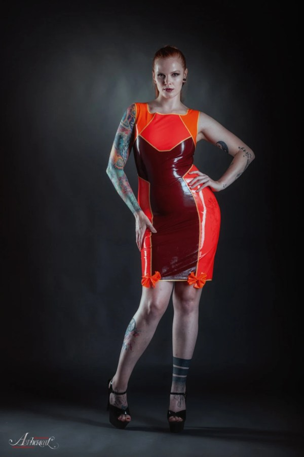 Orange And Red Latex Dress With Bows Oddterritory