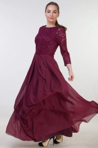 Long burgundy bridesmaid dress with sleeves Long burgundy